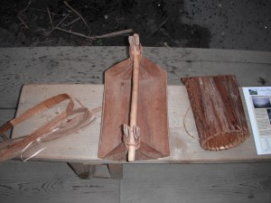 A canoe bailer & berry-picking basket from Ridgefield National Wildlife Refuge's Cathlapotle Plankhouse Interpretive Display