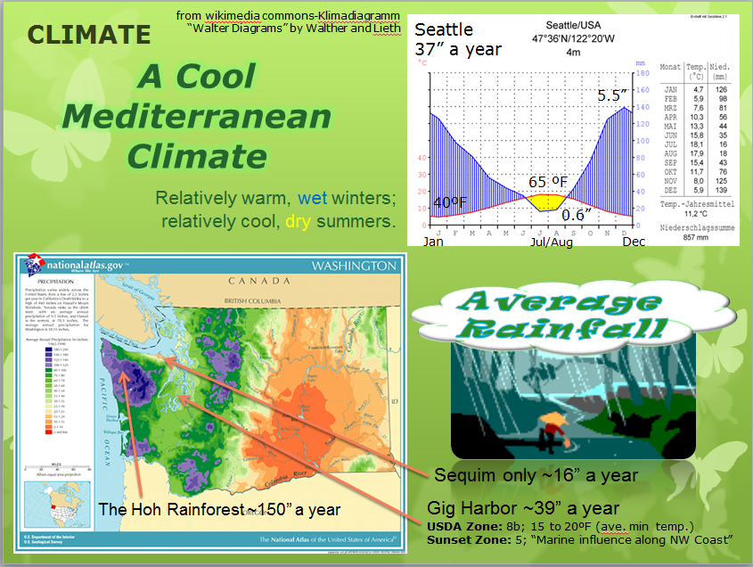 The Diagram on the upper right shows average rainfall and average temperature--The yellow zone indicates a typical dry period.