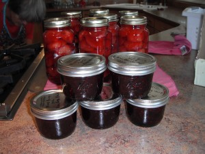 Canned plums and mixed berry jam