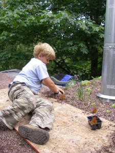 Putting my son to work.